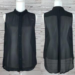 H&M black sheer sleeveless button down shirt